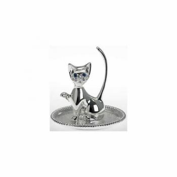 Figur 1224ver Ringständer Katze Silber Massive Ausführung