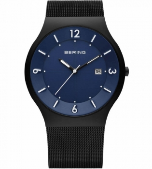 Bering Herrenuhr 14440-227 Solar Uhr Schwarz Blau Matt Armbanduhr