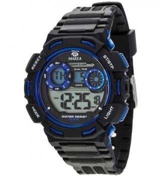 MAREA Herrenuhr 40183-2 Alarm Chrono Uhr Silber Beleuchtung Digital Timer