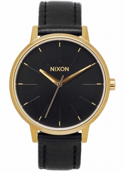 Nixon Damenuhr A108-513 Kensington Leather Gold Black Uhr Vintage-Look