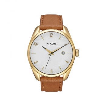 Nixon Herrenuhr A473-1425 Bullet Leather Gold Saddle Leder