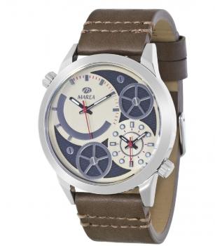 MAREA Herrenuhr B54063-1 Dual Time Leder Zeitzone Uhr