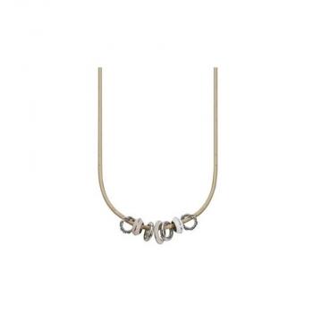 Esprit Damen Kette ESNL11825A Collier Beige Leder Halskette Lederkette