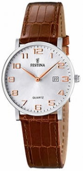 Festina Damenuhr F16477-2 Silber Uhr Leder Rose` Businessuhr Damenuhr