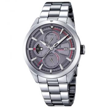 Festina Herrenuhr F16828-3 Multifunktion Herren Uhr Silber Grau