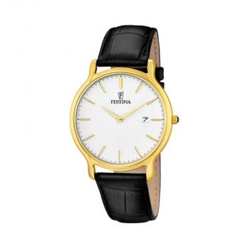 Festina Herrenuhr F6829-1 Sport Gold Uhr Leder Armbanduhr