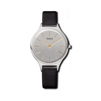 M&M Damenuhr M11898-462 MODERN BASIC Leder Silber Damen Uhr