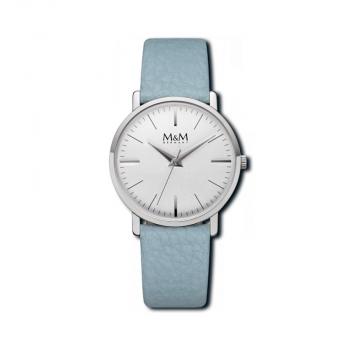 M&M Damenuhr M11926-842 hellblau BASIC Leder Silber Uhr