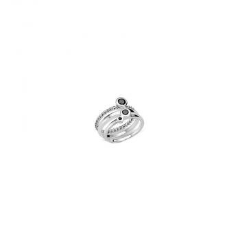 s.Oliver Damenring SO566 3er Set Silber Damen Ring Gr 54