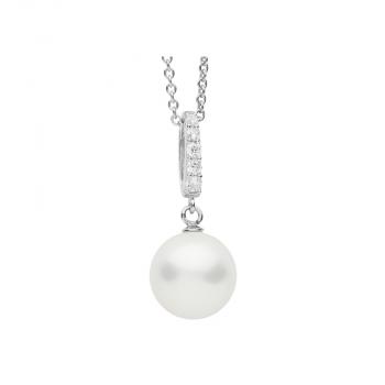 Silvertrends Damen Kette ST1151 Silber Perlenanhänger Collier Perle Schmuck