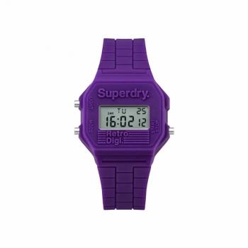 Superdry Damenuhr SYL201V Uhr Armbanduhr Mini Retro Digitaluhr Purple Lila