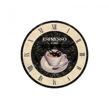 Look Wanduhr WT1015 Küchenuhr Retro Espresso Caffee Landhausstil