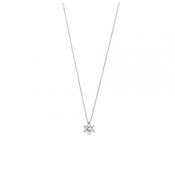 XENOX Damen Kette XS7211 Silber 45cm Solitär Anhänger Halskette