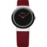 Bering Damenuhr 10729-642 Rot Schwarz Keramik Uhr Silber