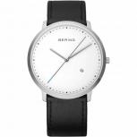 Bering Herrenuhr 11139-404 Uhr Armbanduhr Silber Schlicht Schwarz Leder