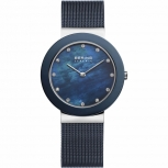Bering Damenuhr 11435-387 Ceramic Silber Blau Uhr Damen Armbanduhr