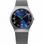 Bering Herrenuhr 11937-078 Uhr Armbanduhr Silber Titan Blau Antiallergisch
