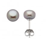 Look Ohrringe 146275 Perle Perlstecker echt Silber Ohrstecker Grau 8 mm