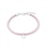 s.Oliver Damen Armband 2012807 Lederband rosa Kinder Mädchen Herz