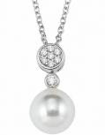s.Oliver Damen Kette 2021044 Silber Perle Collier Halskette Halsschmuck