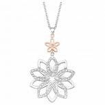 s.Oliver Damen Kette 2021082 Silber Blume Collier Halskette Halsschmuck