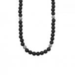 s.Oliver Herren Kette 2022626 Halskette Schmuckkette Gliederkette Onyx Kugeln