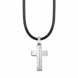 s.Oliver Herren Kette 2024225 Kreuz Lederkette Kette Halskette Kreuzanhänger