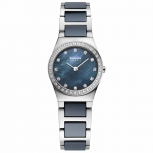 Bering Damenuhr 32426-707 Part Ceramic Silber Uhr Dunkelblau
