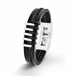 s.Oliver Herren Armband 9025510 Silber Leder Schwarz Lederarmband Herrenarmband