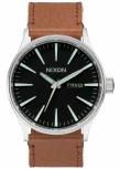 Nixon Herrenuhr A105-1037 Sentry Leather Black Saddle Leder Uhr