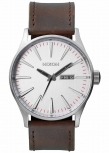 Nixon Herrenuhr A105-1113 Sentry Leather Silver Brown Leder Uhr