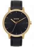 Nixon Damenuhr A108-513 Kensington Leather Gold Black Uhr Vintage-Look