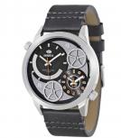 MAREA Herrenuhr B54063-2 Dual Time Leder Zeitzone Uhr