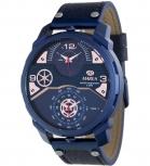 MAREA Herrenuhr B54096-3 Blau Dual Time Leder Zeitzone Uhr