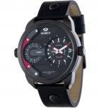 MAREA Herrenuhr B54097-1 Dual Time Leder Zeitzone Uhr Armbanduhr