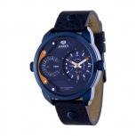 MAREA Herrenuhr B54097-3 Dual Time Leder Zeitzone Uhr