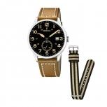 Festina Herrenuhr F20347-6 Armbanduhr Uhr Leder und Textil Band