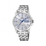 Festina Herrenuhr F20357-1 Silber Armbanduhr Uhr Day Date Blau Leuchtzeiger