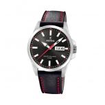 Festina Herrenuhr F20358-4 Leder Armbanduhr Uhr Datum Schwarz Rot