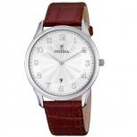 Festina Herrenuhr F6851-1 Elegant Silber Uhr Leder Armbanduhr