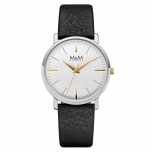 M&M Damenuhr M11926-462 Herrenuhr BASIC Leder Silber Uhr