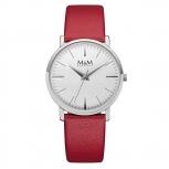 M&M Damenuhr M11926-642 BASIC Leder Silber Uhr Armbanduhr