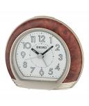 Seiko Wecker QHE154B Uhr Tischuhr Holz Alarm no tic Weckuhr kein ticken