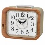 Seiko Wecker QHK046B Klingel-Alarm Geräuschlos Holz Uhr kein ticken