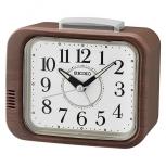 Seiko Wecker QHK046Z Klingel-Alarm Geräuschlos Holz Uhr kein ticken