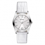 s.Oliver Damenuhr SO-2620-LQ Leder Uhr weiss Armbanduhr