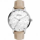 s.Oliver Damenuhr SO-3466-LQ Uhr Armbanduhr Silber Schmuckuhr Leder Blume