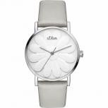 s.Oliver Damenuhr SO-3471-LQ Uhr Armbanduhr Silber Schmuckuhr Leder Blume