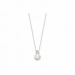 Silvertrends Damen Kette ST696 Silber Perlenanhänger Collier Perle Schmuck
