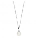 Silvertrends Damen Kette ST810 Silber Perlenanhänger Collier Perle Schmuck